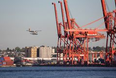 Vancouver Harbor Sea Plane Landing Stock Images
