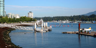 Vancouver Harbour, Canada. Seaplane and boats in Vancouver Harbour, Canada Royalty Free Stock Photos