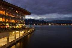 Vancouver harbour at night with convention centre and North Shore Stock Image