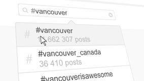 Vancouver hashtag search through social media posts. 3D rendering. Vancouver hashtag search through social media posts Royalty Free Stock Photos