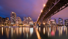 Vancouver hourbor på natten Royaltyfria Foton