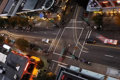 Vancouver Intersection. One of Vancouvers intersection at dusk, seen from aboveSee more images that illustrate my personal style Stock Photo