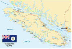 Vancouver island map with flag. Vector map of canada island Vancouver island with flag Stock Photography