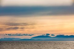 Vancouver Island in Pacific Ocean haze BC Canada stock photo