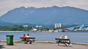 People at Stanley Park Seawall Royalty Free Stock Image