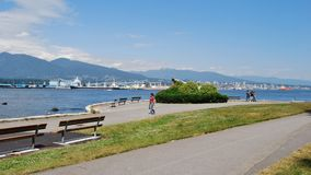 People at Stanley Park Seawall Royalty Free Stock Photo