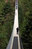 Vancouver Kanada: April 12, 2008: Besökare som korsar Capilano br Royaltyfri Foto