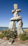 VANCOUVER, KANADA - 24. AUGUST 2016: Inukshuk-Markstein am 24. August Stockfotos