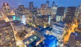 VANCOUVER KANADA - AUGUSTI 10, 2017: Byggnadsljus av centret Royaltyfri Foto