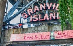 VANCOUVER KANADA - AUGUSTI 10, 2017: Granville Market tecken _ Royaltyfri Fotografi
