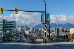 Vancouver Kanada, Kwiecień 2 -, 2017, widok przy Cambie ulicą Obraz Stock