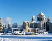 VANCOUVER KANADA, Luty, - 24, 2018: Zima ranek po nocy śnieżnej miecielicy Katolicki Ukraiński kościół Obrazy Stock
