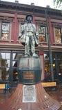 VANCOUVER KANADA - SEPTEMBER 2014: Gastown den första i stadens centrum kärnan namnges efter gas- Jack Deighton, som i 1867 öppna Arkivfoto