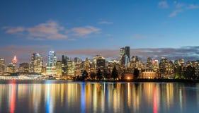 Vancouver-Kerstmis nacht van de binnenstad Stock Foto's
