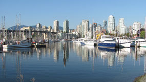 Vancouver Landscape. Vancouver City landscape, taken from the docks, boats and the buildings can be seen Stock Images