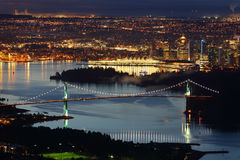 Vancouver, Lions Gate Bridge, High Angle Night Stock Images