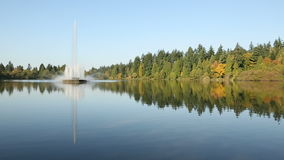 Vancouver, Lost Lagoon, Stanley Park Fountain stock video footage