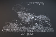 Vancouver map, satellite view, Canada. Vancouver satellite view on a dark background, Canada Royalty Free Stock Image