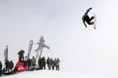 VANCOUVER - MARCH 28: Quiksilver Snowboarding Comp. Quiksilver Showdown Over The City - Vancouver, Canada (28th March 2009 Stock Image