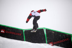 VANCOUVER - MARCH 28: Quiksilver Snowboarding Comp Stock Photo