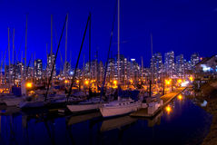Vancouver Marina. False Creek Marina in Vancouver, British Columbia during a beautiful fall evening Royalty Free Stock Photography