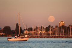 Vancouver Marina Moonrise Royalty Free Stock Photo