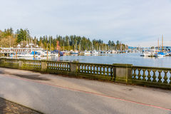 Vancouver marina and waterfront with many boats Royalty Free Stock Photo
