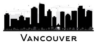 Vancouver miasta linii horyzontu czarny i biały sylwetka Obraz Stock