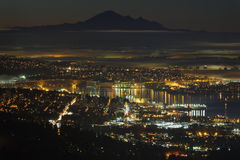 Vancouver Misty Night High Angle Stock Photos