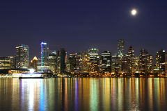 Vancouver night , Canada. Vancouver downtown, lunar night, Canada BC Stock Images