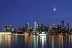 Vancouver night , Canada. Vancouver downtown, lunar night, Canada BC Stock Image