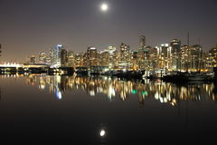 Vancouver night , Canada. Vancouver downtown, lunar night, Canada BC Royalty Free Stock Images