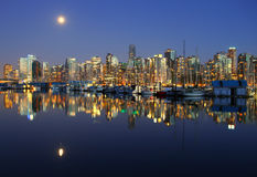 Vancouver night , Canada. Vancouver downtown, lunar night, Canada BC Stock Photo