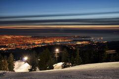 Vancouver night cityscape. A cityscape of Vancouver, British Columbia, Canada, at night seen from Mt. Seymour Stock Images