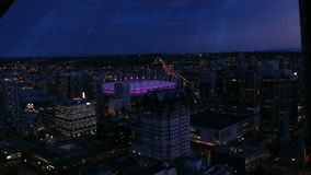 Vancouver night high angle shot. View on Vancouver, Canada, BC place stadium stock video