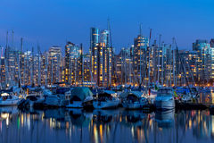 Vancouver night light views with reflection Royalty Free Stock Photo