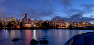 Vancouver night light views with reflection Royalty Free Stock Image
