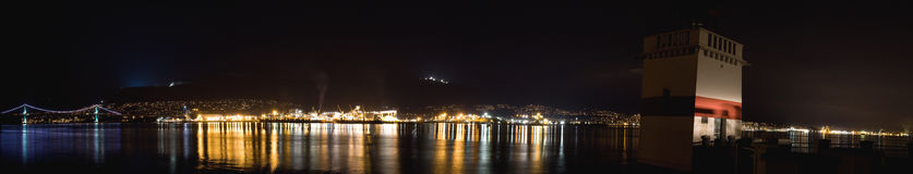 Vancouver night skyline wide panoramic Stock Images
