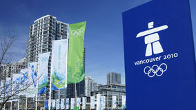 Vancouver Olympics. 2010 Vancouver Olympics signs and banners around the city Stock Image