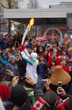 Vancouver Olympics torch relay. Arriving to its final destination in Vancouver, Canada Royalty Free Stock Photo