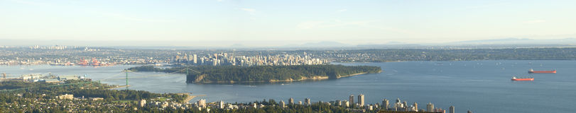 Vancouver Panoramic View. A panoramic view looking East towards Vancouver with Stanley Park and Lions Gate Bridge in the foreground Royalty Free Stock Photo