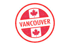 VANCOUVER. Passport-style VANCOUVER rubber stamp over a white background Stock Images