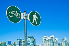 Vancouver pedestrian and cycling lane sign Royalty Free Stock Photos