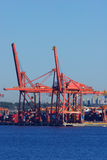 Vancouver port with huge lifting cranes Royalty Free Stock Photo