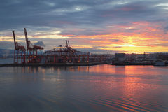 Vancouver Port Sunrise, Burrard Inlet Stock Photos