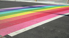 Vancouver Pride Rainbow Crosswalk dolly shot, 4K, UHD stock video