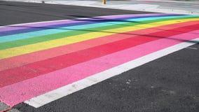 Vancouver Pride Rainbow Crosswalk Traffic, 4K, UHD stock video footage