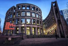 VANCOUVER PUBLIC LIBRARY - Vancouver. Dramatic modern architecture lights up at night Stock Images