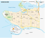 Vancouver road and nighborhood  map Stock Image