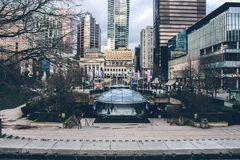 Vancouver Robson Square Ice Rink View. Buildings. royalty free stock images